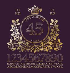 happy anniversary golden numbers alphabet frame vector image