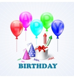 Happy Birthday of a gift box and vector image