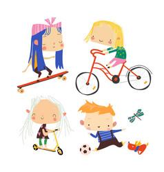 happy children doing sport on white background vector image