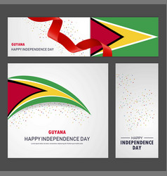 Happy guyana independence day banner and vector