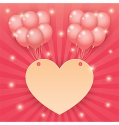 heart and balloon on starburst background vector image