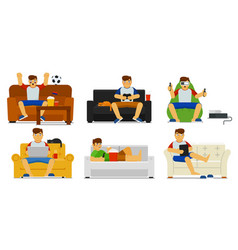 home leisure set isolated man person sitting vector image
