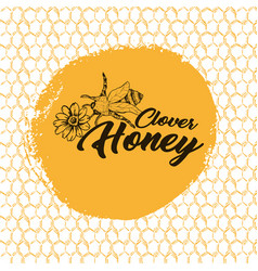 honey bee sketch logo design with honeycomb vector image