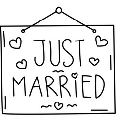Just married icon doddle hand drawn or black vector