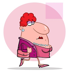 Lady in pink wears pearls and carries purse vector