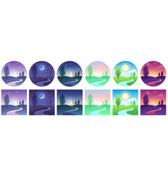 Landscape time icons sky and field daytime circle vector