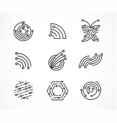 logo set - technology tech icons and symbols vector image
