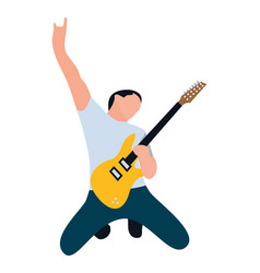 Male playing guitar vector