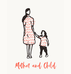mother child walking together drawn sketch vector image