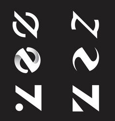 n logo set vector image