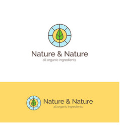 Natural cosmetics line style logo vector