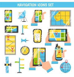 Navigation flat color decorative icons vector