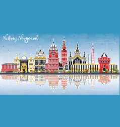 Nizhny novgorod russia city skyline with color vector