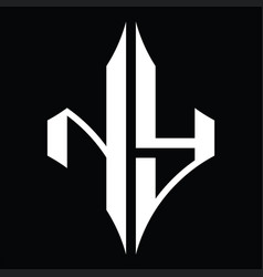 Ny logo monogram with diamond shape design vector