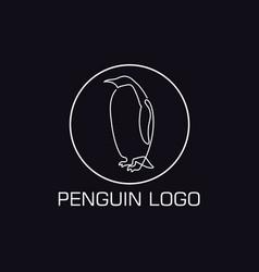 one line penguin logo vector image