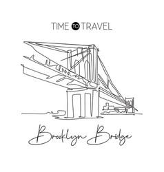 one single line drawing brooklyn bridge landmark vector image
