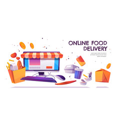 online food delivery grocery order service banner vector image