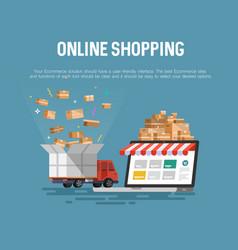 online shopping concept desktop vector image