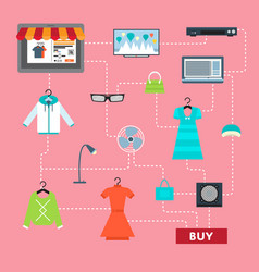 online shopping in mall infographic vector image