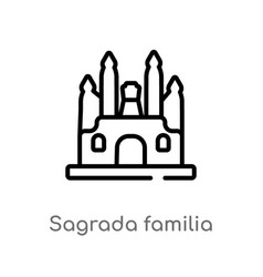 Outline sagrada familia icon isolated black vector