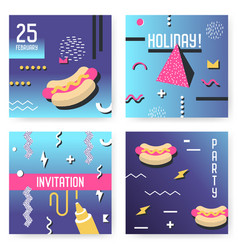 poster templates set with geometric memphis shapes vector image