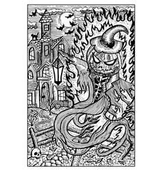 Pumpkinhead in halloween night engraved fantasy vector