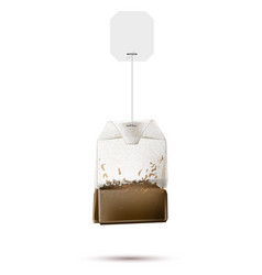 realistic teabag with blank paper label vector image