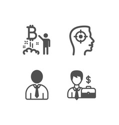 Recruitment human and bitcoin project icons vector