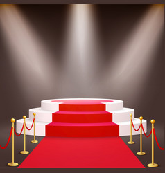 round podium with red carpet and stanchions vector image