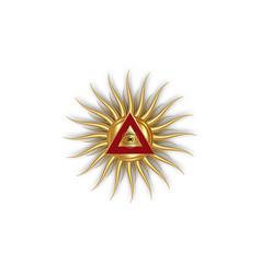 Sacred masonic symbol gold all seeing eye logo vector