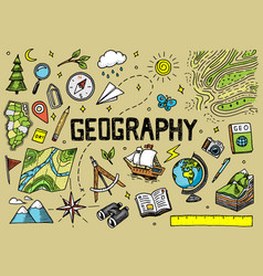 set geography symbols equipments for web vector image