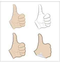 Set of thumbs up vector image