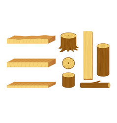 Set of wooden logs stumps branches trunks and vector