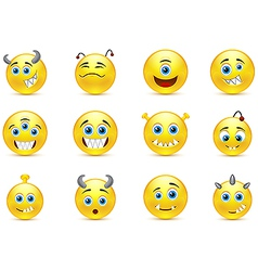 Set smileys style toothy alien monsters vector