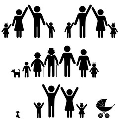 Silhouettes family vector