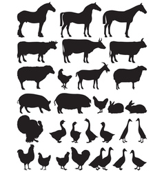 Silhouettes of farm animals vector