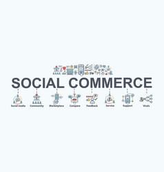 Social commerce banner web icon for e-commerce vector