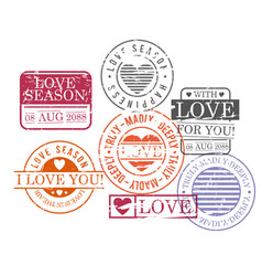 stamps set of love season in colorful silhouette vector image