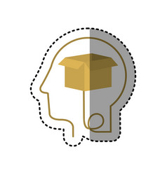 Sticker silhouette profile human head with carton vector