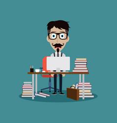 Stressful businessman working behind office desk vector