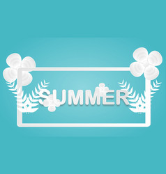 summer sale banner with paper cut leaves vector image