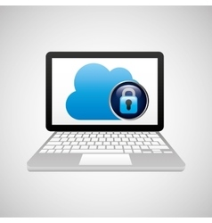 Technology laptop cloud protection safety vector