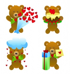teddy bear with love gifts vector image