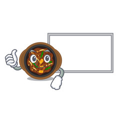 Thumbs up with board bulgogi is served on mascot vector