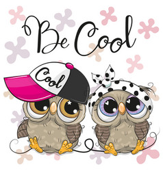 Two cute owls with a cap and bow vector