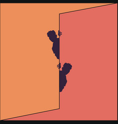 Two men peek out from behind the wall vector