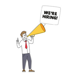 We are hiring recruiting head hunting concept vector