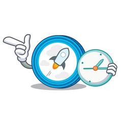 With clock stellar coin character cartoon vector