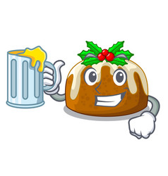 With juice christmas pudding on dinning table vector