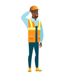 Young african-american builder scratching his head vector